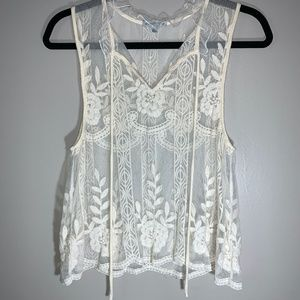 Charlotte Russe Floral Lace Tank Top